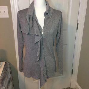 Sweater jacket blouse gray zip up , Size M.